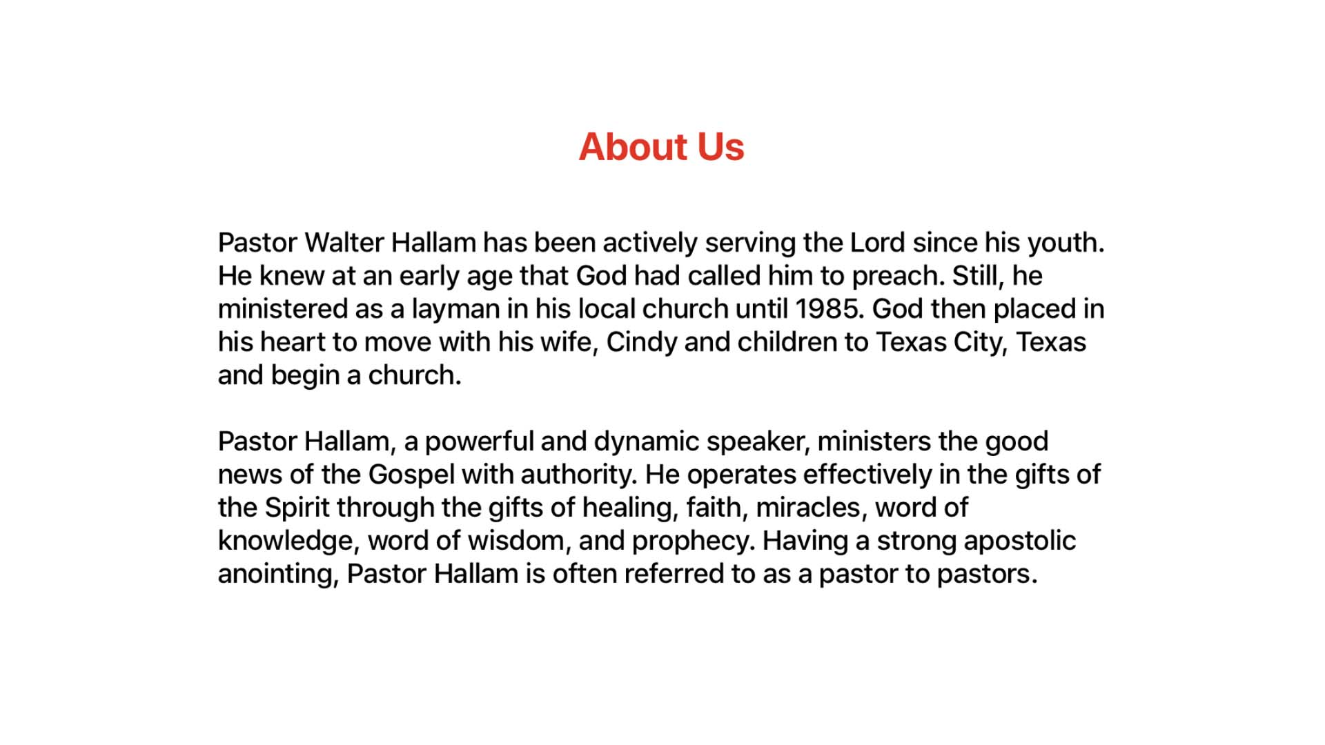 Walter Hallam Ministries Screenshot 003