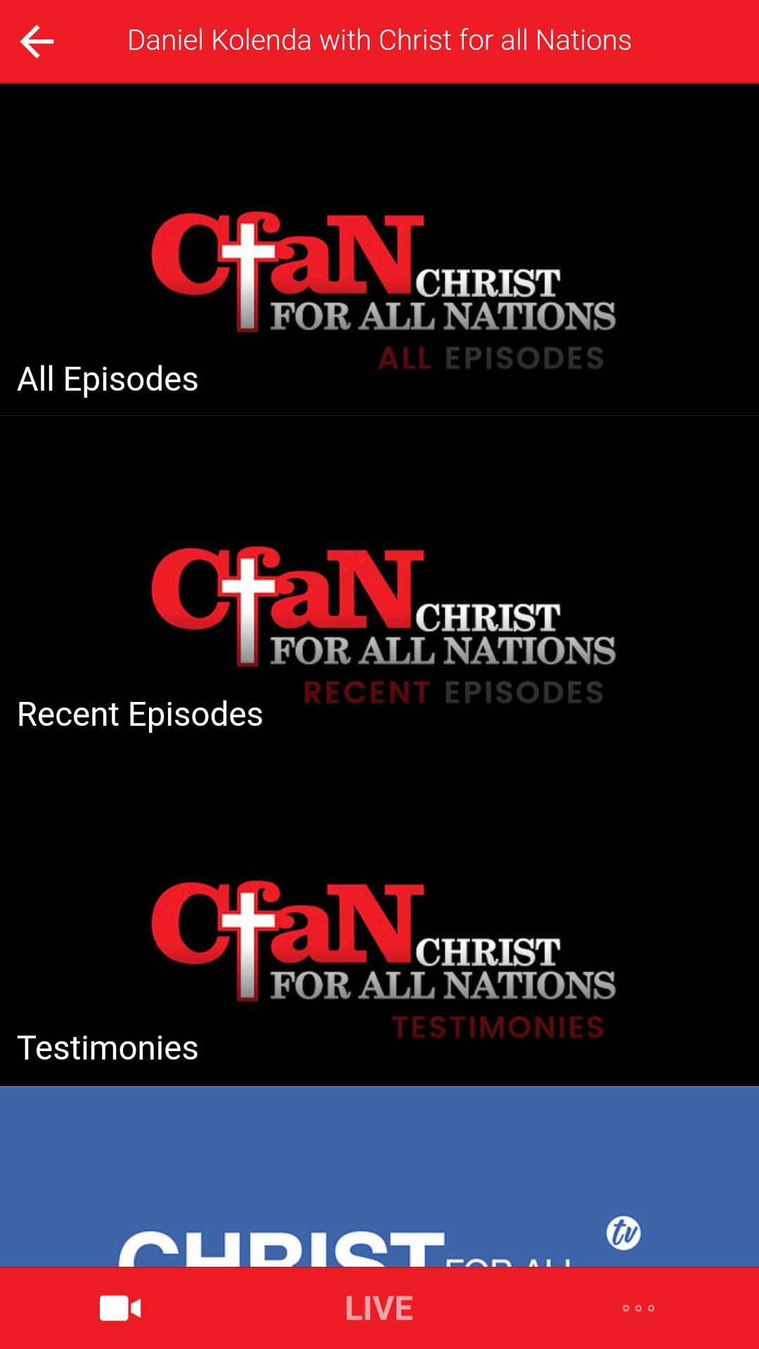 CHRIST FOR ALL NATIONS TV Screenshot 002